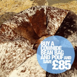 Cowhide Bean Bag Poufs