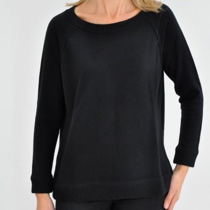 Black Boxy Round Neck ladies cashmere sweaters