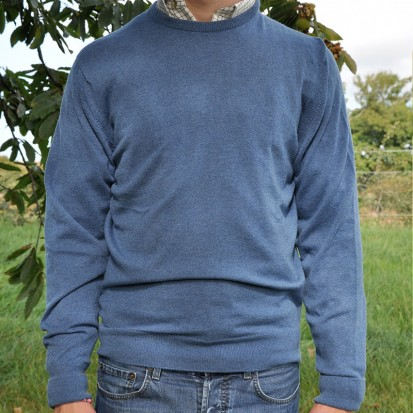 Cashmere Crew Neck Soft Denim Sweaters
