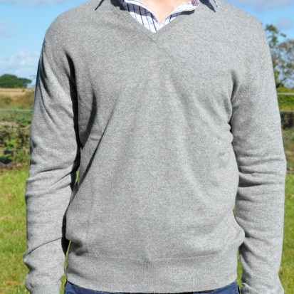 Cashmere VNeck Sweater Light Grey