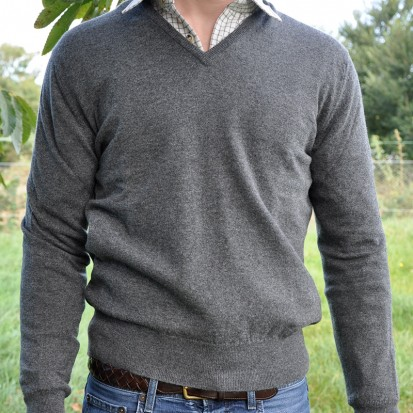 Cashmere VNeck Sweater Mid Grey