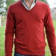 Cashmere VNeck Mens Sweater Poppy