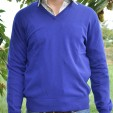 Cashmere VNeck Mens Sweater Silk Purple