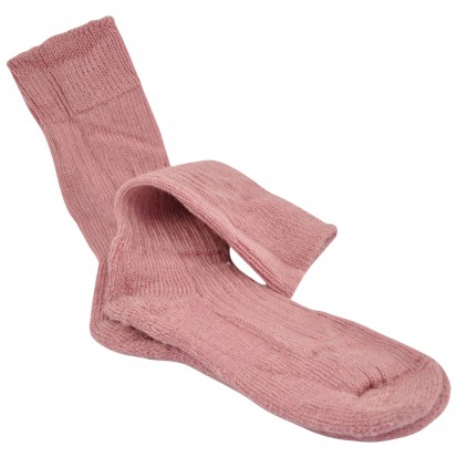 Childrens Cushion Soled Dusty Pink Mohair Socks