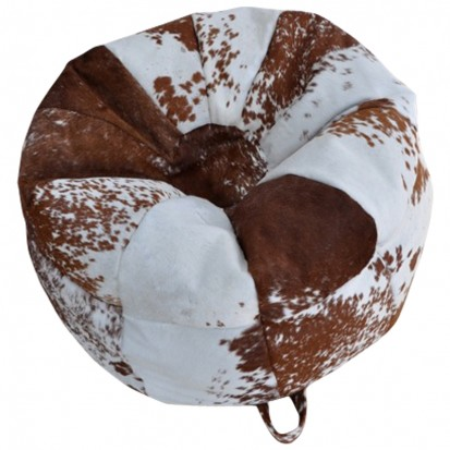 Cowhide Bean Bag Brown and White