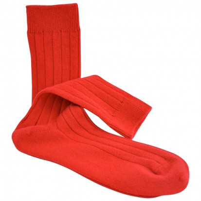 Mens Cashmere Socks in Red