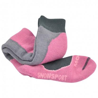 Mohair Tech Snowsport Socks Cerise and Grey