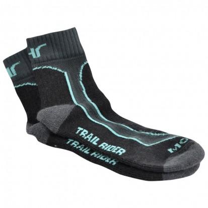 Mohair Technical Trail Rider Socks Black Aqua