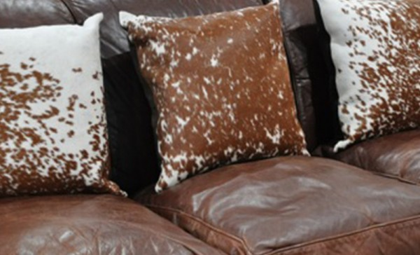 Cowhide Cushion Brwon and White