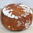 Cowhide Poof Brown and White