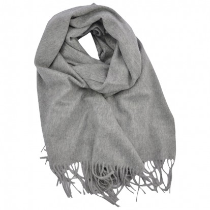 Plain Cashmere Stole Light Grey