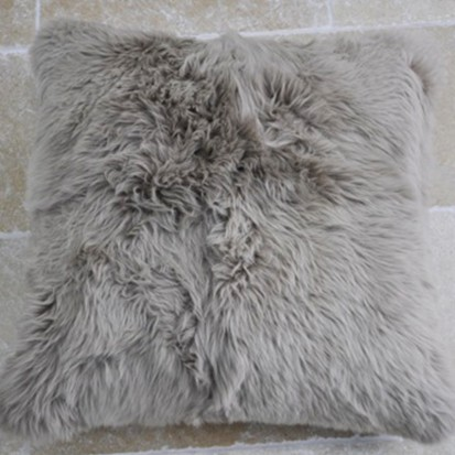Sheepskin Cushion Taupe Shaggy