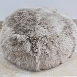 Sheepskin Poof Taupe Shaggy